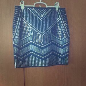 Express blue and silver mini skirt